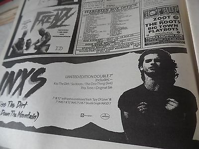 "INXS 1986 ""KISS THE DIRT"" small adverT along the base  COMES ON A FULL PAGE"