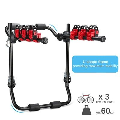 3 Bike Bicycle Car Cycling Rear Mount Carrier Rack Foldable Steel w/ Straps New