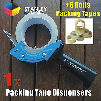 1x Low Noise Packing Tape Dispenser Gun + 6x Rolls 75Mx48MM Clear Packing Tapes