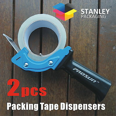 2x LOW NOISE PACKING TAPE DISPENSER GUNS 48mm Roll Sticky Blue Packaging