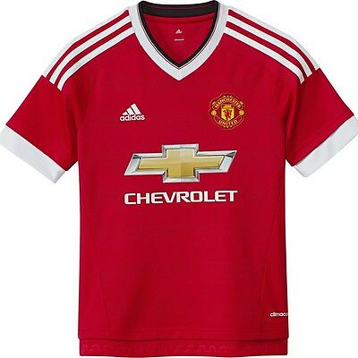Manchester United FC adidas childrens home short sleeve football shirt 2015-16