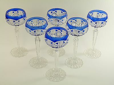 VAL St LAMBERT Crystal - SAARBRUCKEN Cut - 6 Hock Wine Glass / Glasses - 7 5/8""