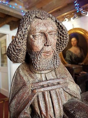 15th Century Antique Wood Carving of an Apostle, Possibly Saint Paul, C.1450-80