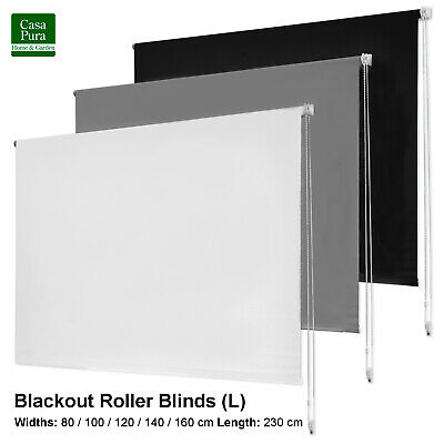 Large XL Blackout Thermal Roller Blind Shade | Trimmable UV Resistant Curtain