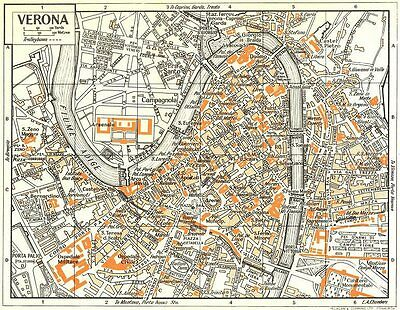 VERONA town/city plan. Italy 1953 old vintage map chart