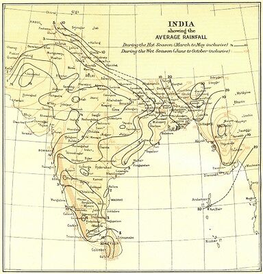 INDIA. showing average Rainfall during Monsoon & dry seasons. Isohyets 1924 map