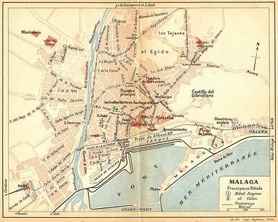 SPAIN. Malaga 1921 old vintage map plan chart
