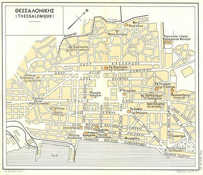 THESSALONIKI vintage town city plan. Thessalonique. Greece 1956 old map