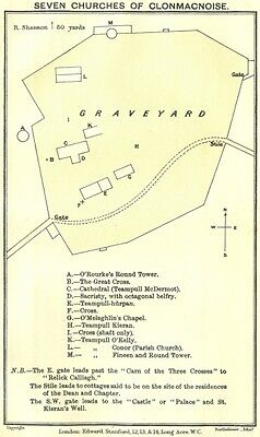 IRELAND. Athlone to Clonmacnoise. 7 Churches of 1912 old antique map chart