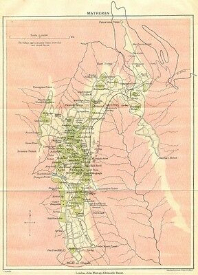 BRITISH INDIA. Matheran Hill station. Maharashtra. 1924 old vintage map chart