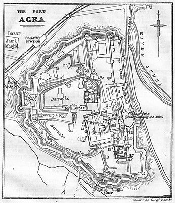 BRITISH INDIA. Agra Fort sketch plan 1924 old vintage map chart