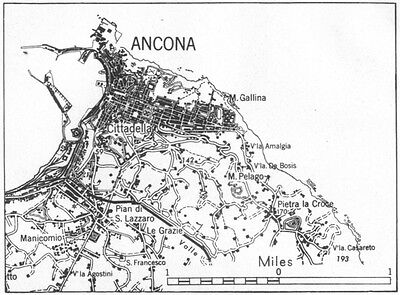 ITALY. Ancona sketch map 1945 old vintage plan chart