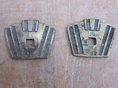 2 Reclaimed Cast Brass Art Deco Drawer Knob Handle Pull Back Plates