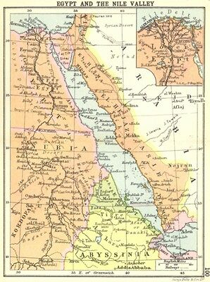 EGYPT. Egypt and the Nile Valley; Small map 1912 old antique plan chart