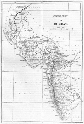 INDIA. Map of The Presidency of Mumbai c1880 old antique plan chart