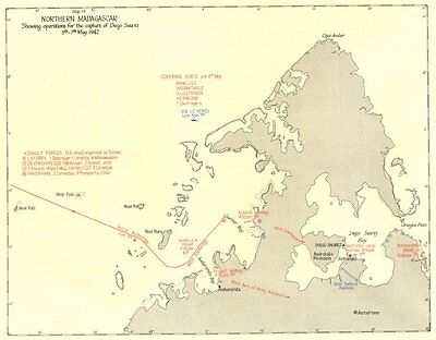 MADAGASCAR. Operations for capture of Diego Saurez May 1942 1956 old map
