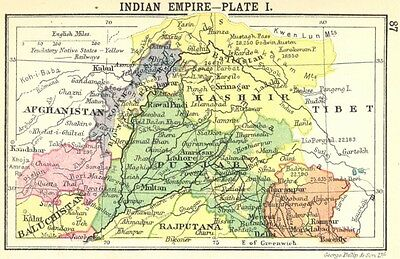 INDIA. Indian Empire-Plate I; Small map 1912 old antique plan chart