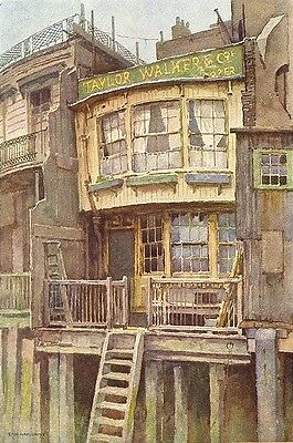 """The """"Grapes"""", Limehouse. London. By Ernest Haslehust 1920 old vintage print"""