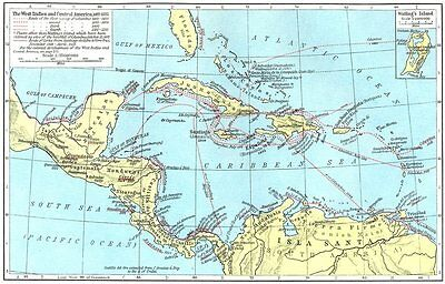 WEST INDIES. & Central America, 1492-1525; map of Watling's Island 1956