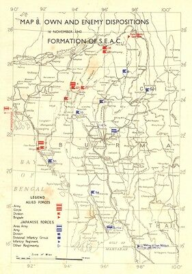 ASIA. Oct, 1943, to Feb, 1944. Own & Enemy positions formation of SEAC 1951 map