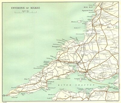 IRELAND. Environs of Kilkee 1906 old antique vintage map plan chart