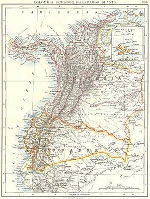 SOUTH AMERICA. Colombia, Ecuador; Galapagos Panama 1897 old antique map chart