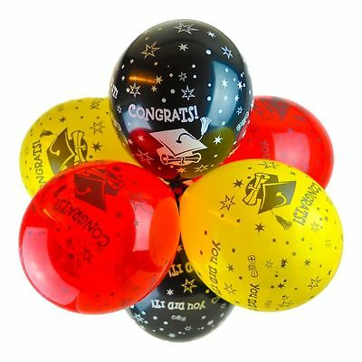 """12"""" Graduation 'Congrats You Did It' Latex Balloons - Package of 10"""