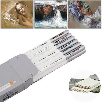 12pcs Marco White Pastel Charcoal Drawing Sketch Pencil Art Artist Craft |