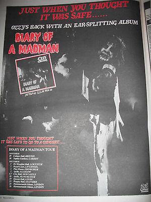 """OZZY OSBOURNE """"Diary of a madman"""" Album & Tour dates advert from 1981 full page"""