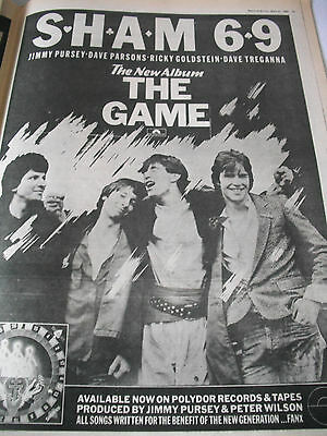 """Sham 69 """"the Game""""  Album Advert From 1980  A3"""