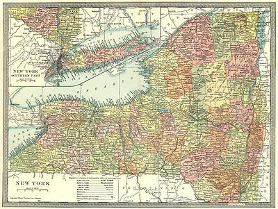 NEW YORK STATE map. Counties 1907 old antique vintage plan chart