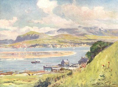 WALES. Carnarvon, from Anglesey 1905 old antique vintage print picture