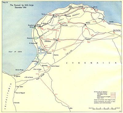 LIBYA. The Winter Battle-II. The Pursuit by 13th Corps December 1941 1960 map