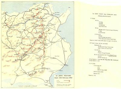 TUNISIA. Casablanca conference; Jan 1943. 1st Army Positions; 14th Feb 1966 map