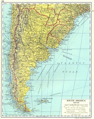 SOUTH AMERICA. South. Argentina Chile Uruguay 1962 old vintage map plan chart
