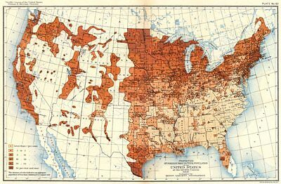 USA. % foreign born total population US 12th census  1900 old antique map