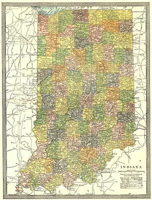 INDIANA state map. Counties 1907 old antique vintage plan chart
