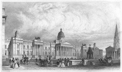 LONDON. THE NEW NATIONAL GALLERY 1835 old antique vintage print picture