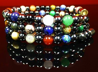 Wrap Bracelet Necklace 6mm Magnetic HEMATITE Healing Gemstone Chakra Reiki
