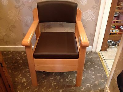 Upholstered Leather Commode Armchair