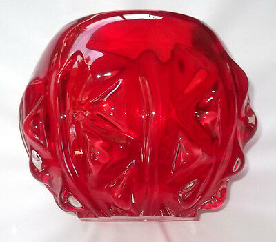 Vintage Ruby Red Glass Vase/ centerpiece Bowl /hand blown Art Glass Vase