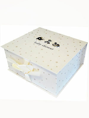 Boy Girl Baby Shower Keepsake Box with 3D Silver Plated Diamante Lid Ideal Gift