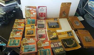 Lot of 43 Vintage crafting hinges handles locked hinges claw feet and hasp misc