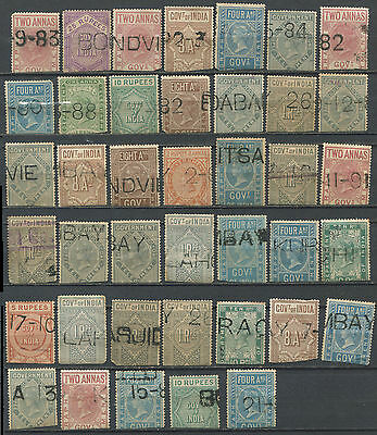 India 1882-90 QV telegraph stamps to 25R (40)