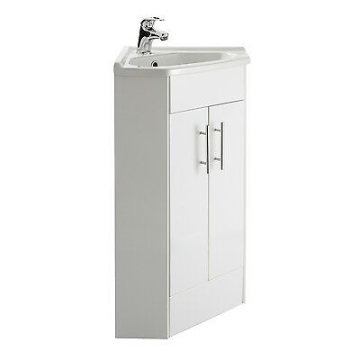 Compact Corner 2 Door Bathroom White Vanity Unit Cabinet Ceramic Basin Sink