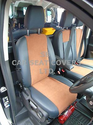 To Fit A Ford Transit Custom Lwb Van, Seat Covers, Leatherette / Tan Suede