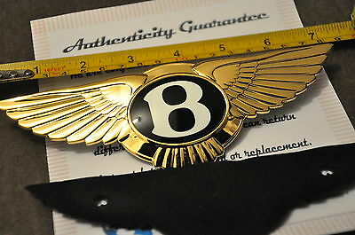 24K Gold Plated Bentley GT MULSANNE CONTINENTAL GTC Front Grill Car Badge New!!!