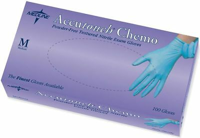 Medline Accutouch Powder-Free Latex-Free Nitrile Exam Gloves, Blue, 100 count
