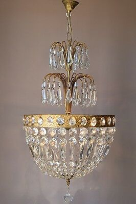 Purse Antique French Vintage Crystal Chandelier Lamp Old Art Nouveau Lighting