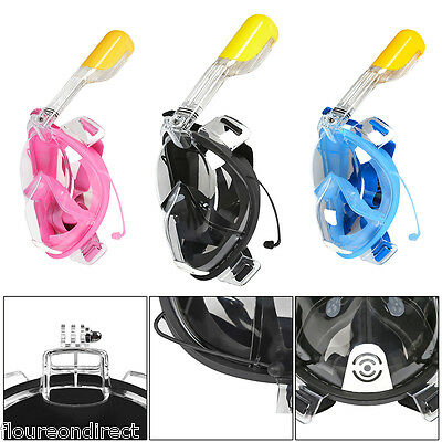 Breath Full Face Mask Surface Diving Snorkel Scuba for GoPro Camera Swim Tools